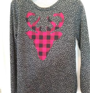 The cutest Polka dot and plaid elk top ever!